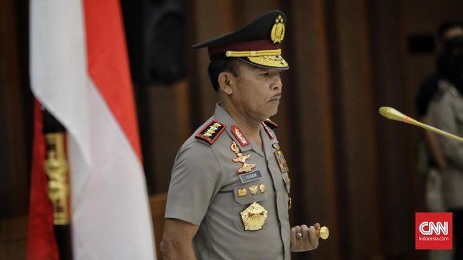 Kapolri Jendral Pol Idham Aziz saat upacara kenaikan pangkat pejabat Polri di Gedung Bareskrim Polri, Jakarta, Rabu, 21 November 2019.
