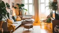 Ruangan bertema modern juga bisa kok dikombinasikan dengan sentuhan alam. Misalnya, ruangan ini memberi kesan alam dengan lantai bercorak kayu dan tanaman artifisial di setiap sudutnya. (Foto: Instagram @fridlaa)