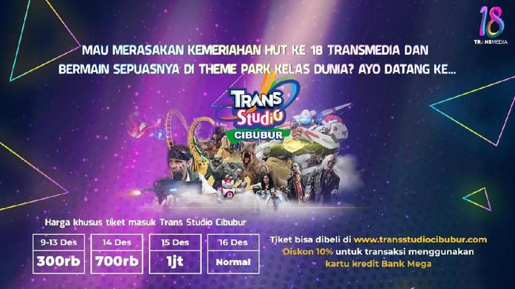 Yuk, ikut rasakan kemeriahan HUT ke-18 Transmedia dan bermain sepuasnya di Theme Park kelas dunia Trans Studio Cibubur.