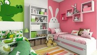 <p>Anak perempuan dan anak laki-laki pasti punya selera yang jauh berbeda. Nah, desain kamar seperti ini adalah solusinya. Meski satu kamar, mereka tetap punya area sendiri untuk menyimpan ornamen yang mereka suka, serta memilih warna dinding kesukaan mereka. (Foto: Instagram @3tinteriordesigns)</p>