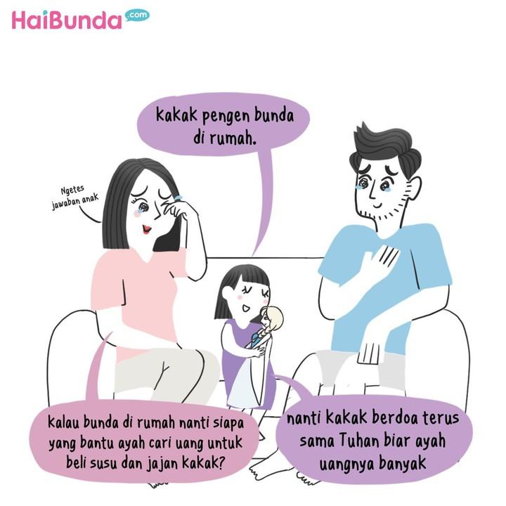 Jleb! Bunda di komik ini dapat pertanyaan menohok anak. Si kecil pernah mengutarakan hal serupa? Share yuk.