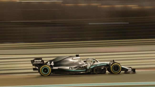 Mercedes driver Lewis Hamilton of Britain steers his car during the Emirates Formula One Grand Prix, at the Yas Marina racetrack in Abu Dhabi, United Arab Emirates, Sunday, Dec.1, 2019. (AP Photo/Hassan Ammar)