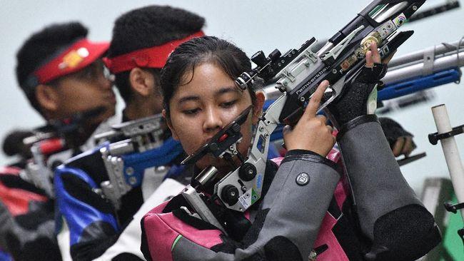Cabang olahraga menembak berhasil menambah jumlah medali emas Indonesia pada hari ketiga SEA Games 2019, Selasa (3/12).
