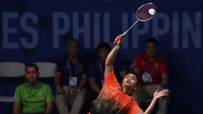 Anthony Sinisuka Ginting menang mudah atas Chen Long pada laga kedua BWF World Tour Finals 2019 dengan skor 21-12 dan 21-11 di Guangzhou, China, Kamis (12/12).