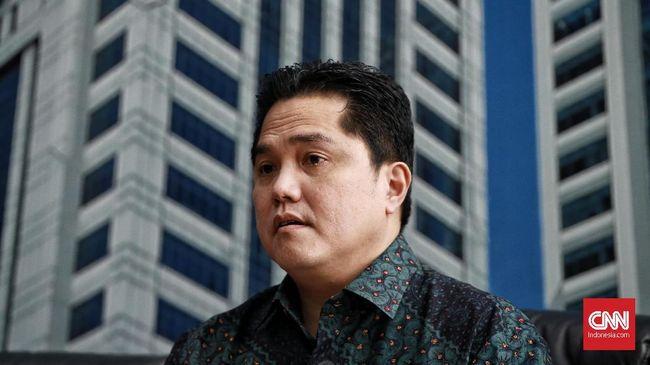 Menteri BUMN Erick Thohir saat menggelar konferensi pers terkait perkembangan temuan 'MOGE' dalam pesawat Garuda. Jakarta. Kamis (5/12/2019).CNN Indonesia/Andry Novelino