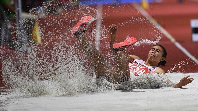Maria Londa merebut medali emas dari nomor lompat jauh putri SEA Games 2019 usai mencatat lompatan terbaik 6,47 meter.