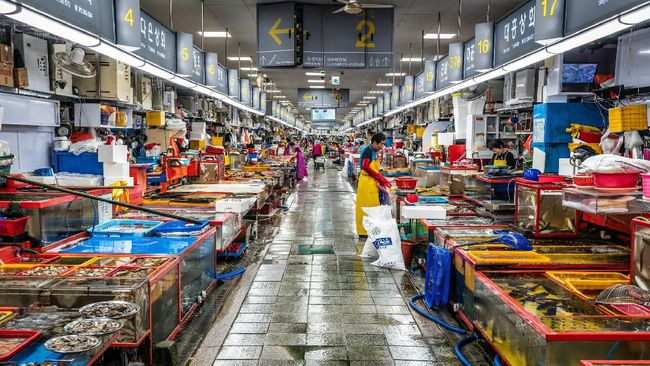 Pasar ikan bukan hanya jadi objek wisata seru di Jepang. Di Korea Selatan, ada juga Pasar Ikan Jagalchi.