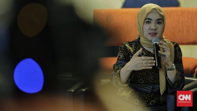 Dirut Pertamina Nicke Widyawati memberikan keterangan pers dikantor Kementrian BUMN. Jakarta, Kamis, 12 Desember 2019. CNNIndonesia/Adhi Wicaksono.