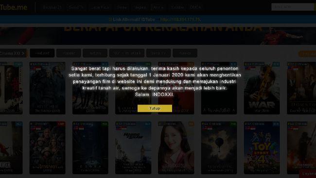 IndoXXI mengumumkan akan menutup situs streaming film ilegal mereka pada 1 Januari 2020.