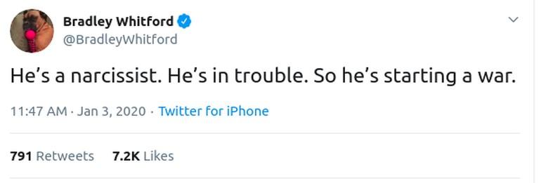 Bradley Whiteford lewat akun twitternya mencuit tentang penyerangan AS atas perintah Donald Trump kepada Iran yang menyebabkan Jenderal Perang Iran, Qasem Soleimani.