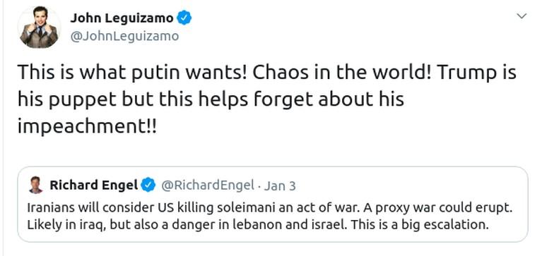 John Leguizamo lewat akun twitternya mencuit tentang penyerangan AS atas perintah Donald Trump kepada Iran yang menyebabkan Jenderal Perang Iran, Qasem Soleimani.