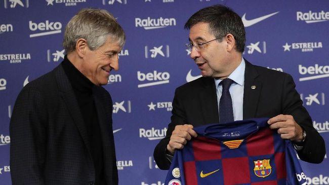 Presiden Barcelona, Josep Maria Bartomeu, menyampaikan akan mundur menyinggung pemecatan Quique Setien usai dipermalukan di Liga Champions.