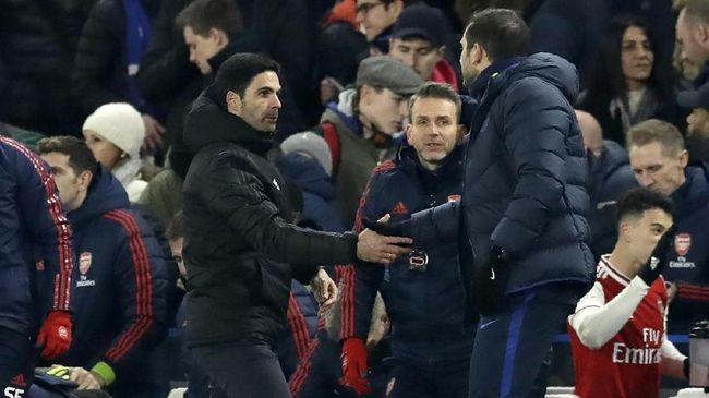 Persaingan dua pelatih muda Mikel Arteta vs Frank Lampard mulai dibandingkan rivalitas Pep Guardiola dan Jurgen Klopp.