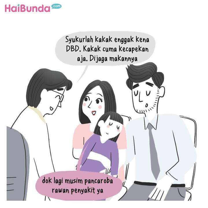 Bunda di komik ini sedih bukan main ketika kakak sakit. Bunda juga merasa hal serupa ketika si kecil sakit? Share yuk apa aja kesedihan Bunda ketika anak sakit.