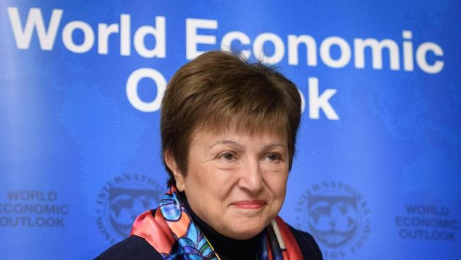 International Monetary Fund (IMF) Managing Director Kristalina Georgieva attends a World economic outlook during the annual meeting of the World Economic Forum (WEF) in Davos, on January 20, 2020. (Photo by Fabrice COFFRINI / AFP)