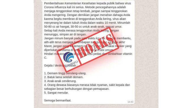 Kemenkominfo menjabarkan daftar 19 hoaks terkait virus corona. Masyarakat diminta jangan termakan kabar tak 'jelas' yang beredar di media sosial.