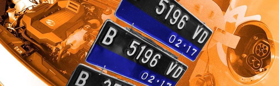 Pelat Nomor Kendaraan Listrik Warna Biru