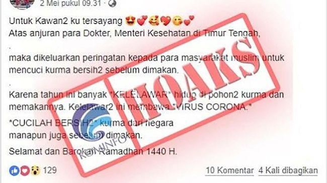 Setidaknya ada 19 isu hoaks soal virus corona beredar di media sosial, yang berhasil dihimpun oleh mesin pengais konten milik Kemenkominfo.