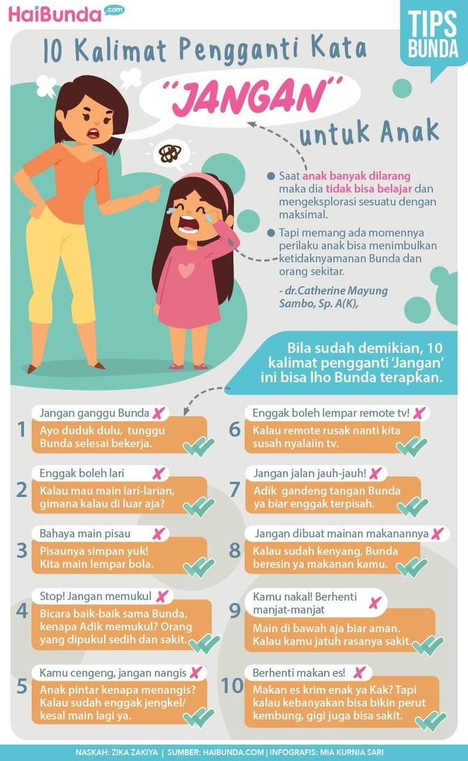 Bunda sebaiknya hindari mengucap kata 'jangan' kepada anak karena bisa berdampak buruk. Berikut 10 kalimat pengganti kata 'jangan' sebagai alternatif.