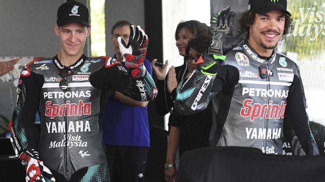 Franco Morbidelli iri dengan rekan setimnya Fabio Quartararo setelah gagal di MotoGP Catalunya 2020, akhir pekan lalu.