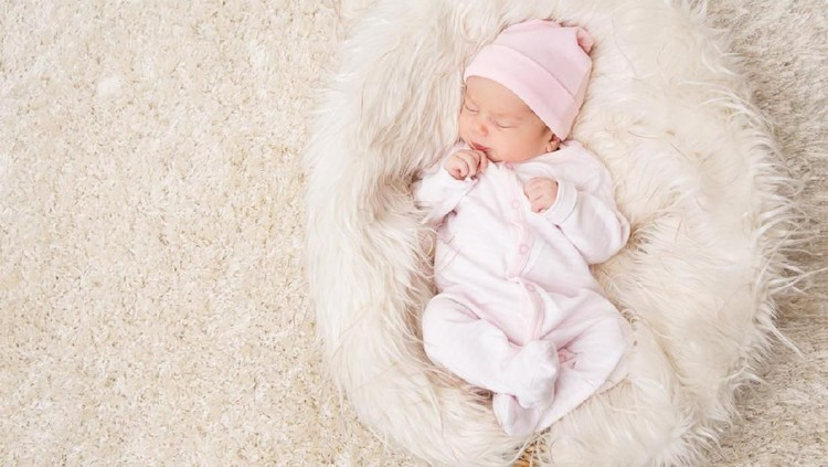 Sleeping New Born Baby, Newborn Kid Sleep on White Fur, Beautiful Infant Studio Portrait, One month old