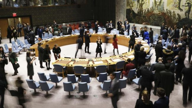 NEW YORK, NEW YORK - JANUARY 09: Members of the United Nations (UN) Security Council participate in a meeting titled
