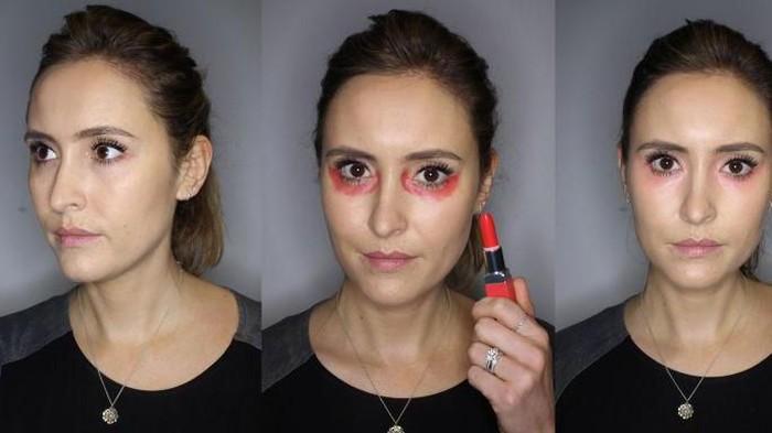 3 Langkah Mudah Menyamarkan Mata Panda dengan Lipstik Merah