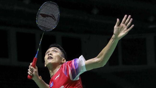 Jonatan Christie mengalahkan Loh Kean Yew pada babak pertama Yonex Thailand Open 2021, Selasa (12/1) di Impact Arena, Bangkok.