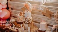 <p>Diungkap Raiasa bahwa konsep ulang tahun Zalina bertema rustic/girly/ safari. Hal itu terlihat dari kue ulang tahun dan berbagai hiasan yang kental akan dekorasi jerapah dan binatang-binatang lain. (Foto: Instagram @ittlethoughtsplanner)</p>
