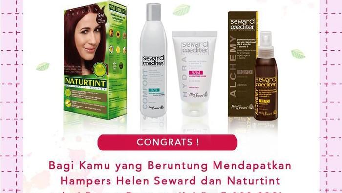 [GIVEAWAY ALERT] 4 Pemenang Beruntung Helen Seward Dan Naturtint Giveaway