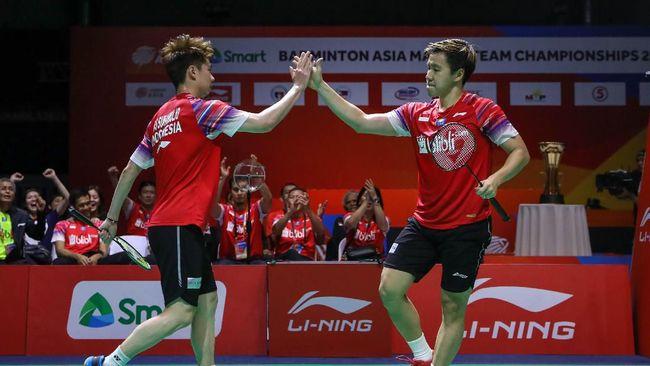 Beregu putra Indonesia juara Badminton Asia Team Championship 2020 usai mengalahkan Malaysia 3-1, Minggu (16/2).