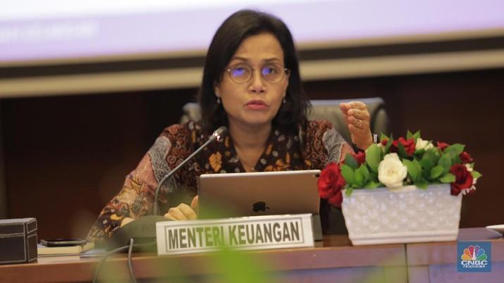 Menteri Keuangan Sri Mulyani saat Konferensi pers APBN KiTa. (CNBC Indonesia/Tri Susilo)