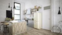 <p>Dapur bisa dibuat dengan lantai kayu, dipadu dengan dinding putih dan furtinur unik. (Foto: iStock)</p>