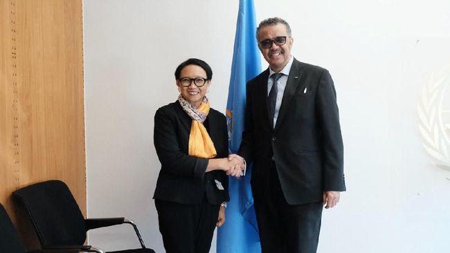 Menlu Retno Marsudi menyampaikan perkembangan penanganan virus corona yang hingga kini masih nihil di Indonesia saat bertemu Dirjen WHO, Tedros Ghebreyesus.