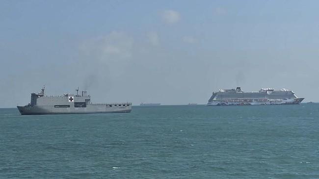 Sebanyak 188 ABK WNI di kapal pesiar World Dream dievakuasi untuk diobservasi risiko virus corona di Pulau Sebaru Kecil, Kepulauan Seribu, DKI Jakarta.