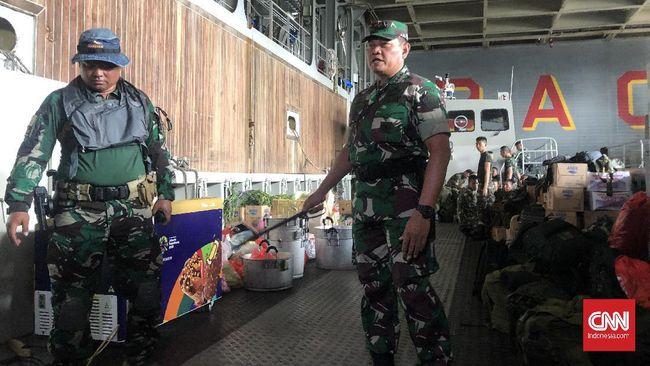 Sebanyak 280 personel tim gabungan observasi terhadap 188 WNI yang berasal dari kapal World Dream berangkat menuju Pulau Sebaru Kecil, Kepulauan Seribu.