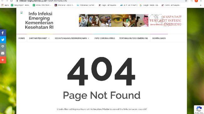 Situs Infeksi Virus Corona Kemenkes Tak Bisa Diakses