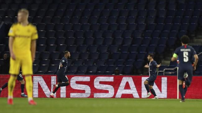 Neymar turut mencetak gol dalam kemenangan 2-0 PSG atas Borussia Dortmund dalam laga leg kedua babak 16 besar Liga Champions.