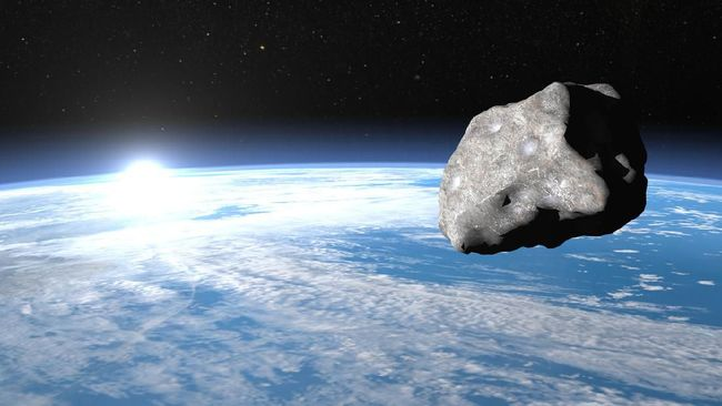 Meteor upon earth, sunrise time, elements of this image furnished by NASA - 3D render