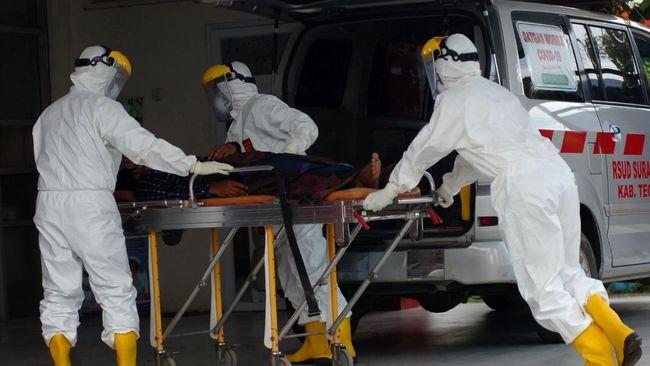 Personel Satgas Mobile COVID-19 membawa pasien diduga terjangkit virus Corona (COVID-19) di Rumah Sakit Suradadi, Kabupaten Tegal, Jawa Tengah, Rabu (11/3/2020). RSUD Suradadi menjemput salah satu anak buah kapal (ABK) warga Desa Demangharjo, Kabupaten Tegal berinisial II (42) diduga terjangkit COVID-19, karena menderita penyakit demam, batuk dan pilek selama tujuh hari usai pulang melaut dari Taiwan. ANTARA FOTO/Oky Lukmansyah/foc.