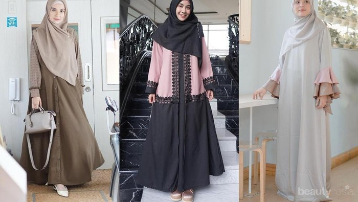 Model Gamis Syari Terbaru dari Artis Tanah Air untuk Lebaran 2019