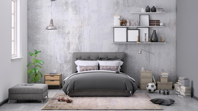 Modern bedroom interior. Beautiful window view zone.3d rendering design