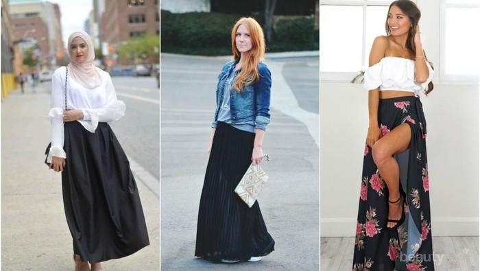 Untuk Kuliah Hingga Liburan ke Pantai, Kamu Bisa Coba Berbagai Gaya dengan Maxi Skirt Hitam Ini!