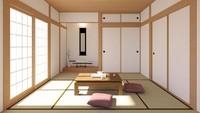 Pintu geser dengan desain layar putih khas Jepang sering kita jumpai. Pintu ini dikenal sebagai 'Shoji', berfungsi untuk membiarkan cahaya alami masuk ke dalam rumah. (Foto: iStock)