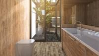 Untuk kamar mandi, kita bisa tetap menggunakan unsur kayu dengan pintu kaca untuk membiarkan matahari masuk. (Foto: iStock)