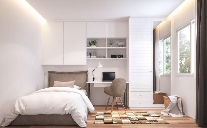 Konsep monokrom bisa menjadi inspirasi Bunda yang ingin mendesain kamar tidur di rumah minimalis. Intip inspirasi kamar tidur dengan konsep ini yuk.