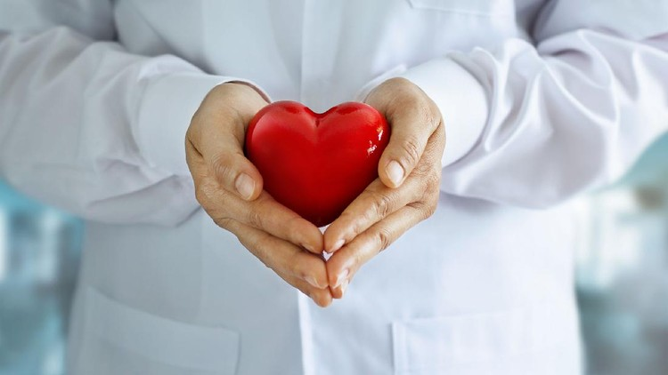 Doctor with stethoscope and red heart shape in hands on hospital background