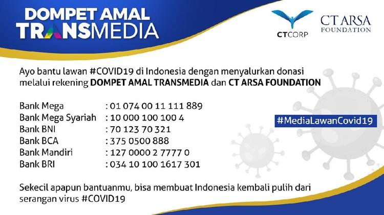 Donasi Transmedia untuk penanganan virus Corona COVID-19