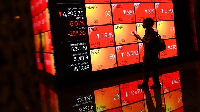 Indeks Harga Saham Gabungan (IHSG) merosot 2,12 persen ke 5.979 pada perdagangan Kamis (28/1).