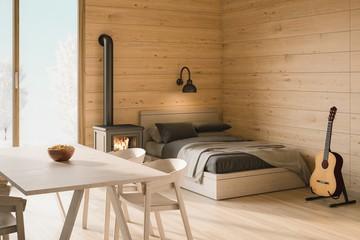 7 Inspirasi Desain Kamar Rumah Minimalis Bertema Kayu Foto 1